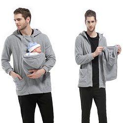 Men's Zip Up Maternity Kangaroo Hooded Sweatshirt Pullover 2 In 1 Baby Carriers (XL, Gray)