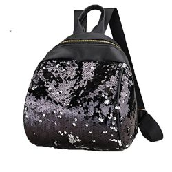 Women Teen Girls Glitter Reversible Sequins School College Backpacks Rucksack Shoulder Bag Purse ...