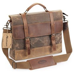 Manificent Men's Messenger Bag, 16 Inch Vintage Waxed Canvas Genuine Leather Large Satchel ...