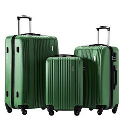 Luggage Set 3 Piece Set Suitcase set Spinner Hard shell Lightweight (green)