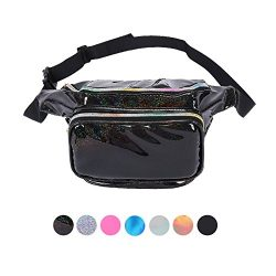 Holyami Fashion Holographic Fanny Pack for Women Men-Waterproof Travel Waist Packs Bum Purse Bag ...