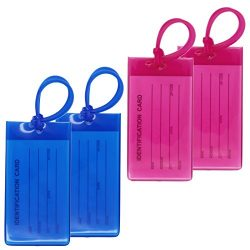 4 Packs Colorful Flexible Travel Luggage Tags for Baggage Bags/Suitcases – Name ID Labels  ...