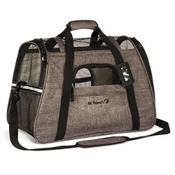 Mr. Peanut's Airline Approved Soft Sided Pet Carrier, Two-Tone Luxury Travel Tote with Fle ...