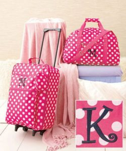 "3-Pc Girl's Monogram Letter ""K"" Luggage Set Rolling Suitcase Duffel Bag Clutch"