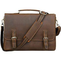 Jack&Chris Men's Genuine Leather Briefcase Messenger Bag 15.6″ Laptop, N8069