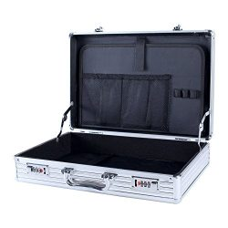 Aluminum Attaché Case, 16.7 Inch Laptop Case, Travel Briefcase with Organizer, Flight Case Toolb ...