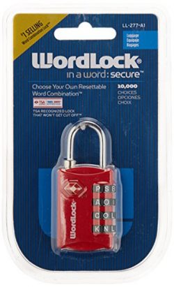 Wordlock TSA 4-Dial Resettable Luggage Lock, Assorted Colors