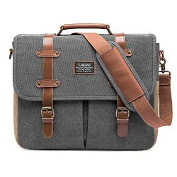 Mens Messenger Bag, 15.6 Inch Laptop Shoulder Bag Canvas Genuine Leather Business Briefcase Larg ...