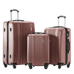 Luggage Set 3 Piece Set Suitcase set Spinner Hard shell Lightweight (gold)
