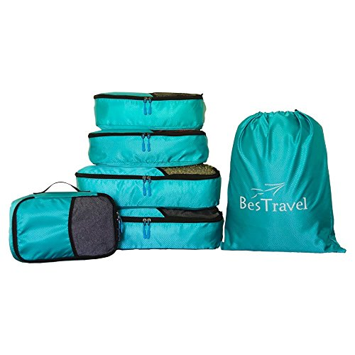 BesTravel – 5 Set Packing Cubes – Travel Organizers with Laundry Bag (blue)