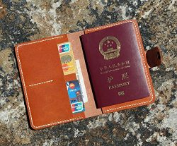 Brown vegetabletanned leather passport cover holder/genuine leather hand stitched travel passpor ...