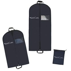 Premium Breathable Garment Bags for Travel – Set of 2 Garment Bags with Clear Viewing Wind ...