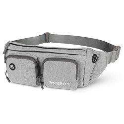 WATERFLY Fanny Pack Large Size, Waist Bag Hip Pack for Men Women Travel or Running Walking