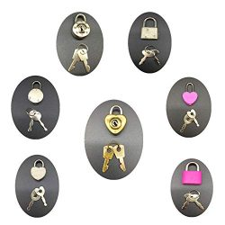 Guaishou Mix Color Style Mini Heart Luggage Locks Padlocks Archaize Lock with Keys Pack of 7pcs