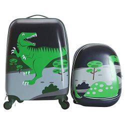 Odthelda 2PC Kids Carry On Hard Side Hard Shell Suitcase For Travel Dinosaur Style
