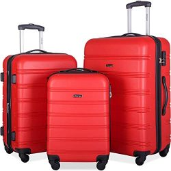 Merax Mellowdy 3 Piece Set Spinner Luggage Expandable Travel Suitcase 20 24 28 inch (Red)