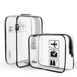 (2 Pack) Clear Toiletry Bag TSA Approved Travel Carry On Airport Airline Compliant Bag Quart Siz ...