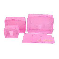 Mbangde 6 Set Packing Cubes, Travel Luggage Organizer – 3 Travel Cubes + 3 Pouches Pink