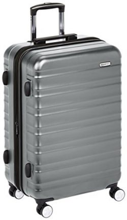 AmazonBasics Premium Hardside Spinner Luggage with Built-In TSA Lock – 24-Inch, Grey