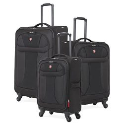 SwissGear 3 Piece Suitcase Set – Spinner Wheels – Softshell & Lightweight (Black)