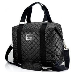 Travel Weekender Overnight Carry-on Shoulder Duffel Tote Bag (8″ x 12″ x 16 (Large), ...