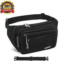 Waist Pack Bag with Rain Cover, Waterproof Fanny Pack for Men&Women, Workout Traveling Casua ...