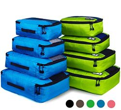 Packing Cubes, Idesort Travel Luggage Organizer Mixed Color Set(green/blue)