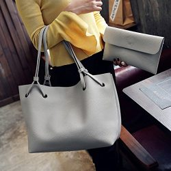 UNKE Women's Fashion Handbags Shoulder Bags Messenger Tote Bags 2 Pcs Set ,Gray