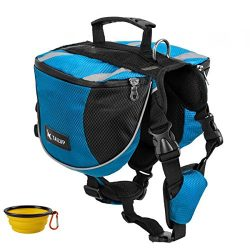 GrayCell Dog Saddlebags Hound Travel Hiking Camping Backpack for Medium Large Dogs (Blue,L)