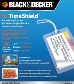 BLACK + DECKER TimeShield  Thermal Laminating Pouches, Luggage Tag with Loops, 5 mil – 100 ...