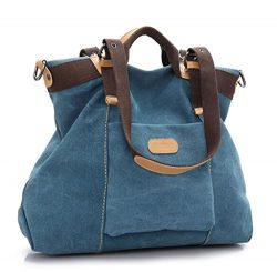 Ecokaki(TM) Casual Canvas Ladies Tote Bag Large Travel Purse Hobo Handbag Shoulder Bag Shopping  ...