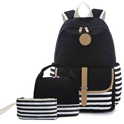 Teens School Backpack Set, Canvas Unisex Bookbags 14″ Laptop Backpack, 3 in 1 with Lunch T ...