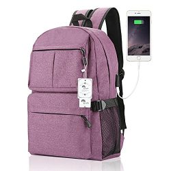 Laptop Backpack, WInblo 15 15.6 Inch College Backpack with USB Charging Port Light Weight Travel ...