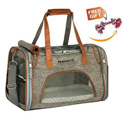 Playay Premium Airline Approved Soft Sided Pet Carrier, Low Profile Luxury Travel Bag with Fleec ...