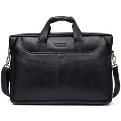 8d11a12cce6 BOSTANTEN Leather Lawyers Briefcase Laptop Messenger Business Bags for Men  Black