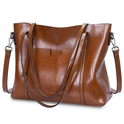 S-ZONE Women Genuine Leather Top Handle Satchel Daily Work Tote Shoulder Bag Large Capacity (Dar ...
