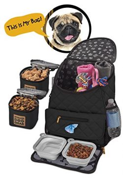 Dog Travel Bag – Deluxe Quilted Weekender Backpack – Includes Lined Food Carriers an ...