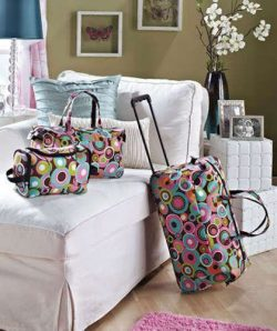 3PC LUGGAGE ROLLING DUFFEL TOTE BAG TRAVEL CIRCLE COSMETIC CASE CARRY ON WEEKEND