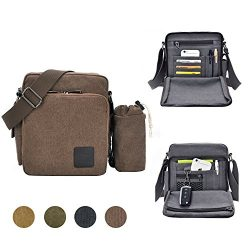 GuiShi Canvas Small Messenger Bag Casual Shoulder Bag Travel Organizer Bag Multi-pocket Purse Ha ...