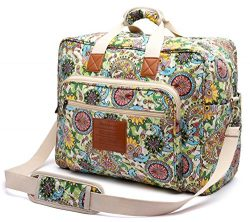 Malirona Women's Canvas Overnight Weekender Bag Carry On Travel Duffel Tote Bag Bohemian Flower  ...