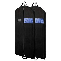 Zilink 54″ Black Garment Bags Suit Bags for Travel Breathable Dresses Cover Bag with Gusse ...