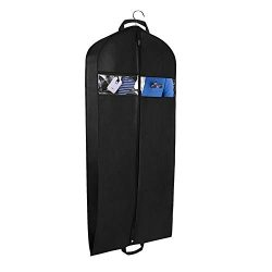 Univivi Garment Bag Travel Storage 43″ Breathable Suit Bags Two Zipped Pockets One Zipped  ...
