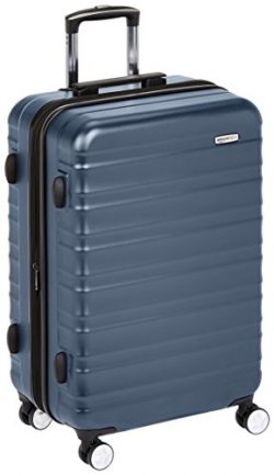 AmazonBasics Premium Hardside Spinner Luggage with Built-In TSA Lock – 24-Inch, Navy Blue