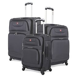SwissGear 3 PC Expandable Spinner Wheel Suitcase Set – Softshell & Lightweight (Grey)