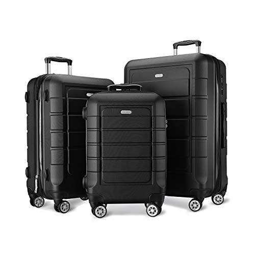 a965b7d0f8a SHOWKOO Luggage Sets Expandable Suitcase Double Wheels TSA Lock 3pcs ...