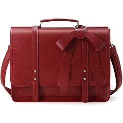 ECOSUSI Women Briefcase PU Leather Laptop Shoulder Satchel Computer Bag Detachable Bow fits 15.6 ...