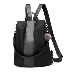 Women Backpack Purse Waterproof Nylon Anti-theft Rucksack Lightweight School Shoulder Bag (Black ...