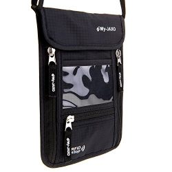 My-JAXO Premium Family Travel Neck Pouch Wallet Safety Passport Holder for Men and Women with RF ...