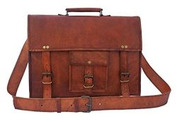 Rustic Town 18 inch Genuine Leather Messenger Bag – Crossbody Laptop Satchel