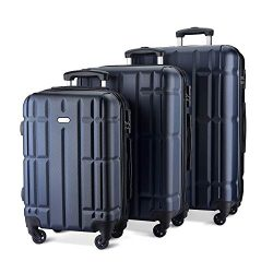 SHOWKOO Luggage Sets Suitcase Spinner Lightweight Durable for Travels 20in 24in 28in(Blue)